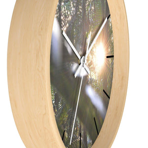 Wall clock - Sunset cloud forest El Yunque PR / Puesta del sol bosque de nubes El Yunque PR Home Decor Printify