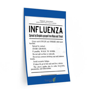 Wall Decals - Lessons of the Spanish Flu pandemic of 1918 - The symptoms and prevention rules just like today with Covid 19 - Yunque Store