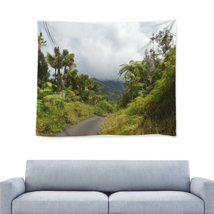 Wall Tapestry - The closed due to Landslide PR 191 long road center of the forest - El Yunque rainforest PR🌼🌻 - Yunque Store