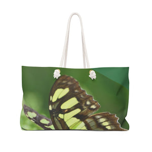 Weekender Bag - Butterfly in flower next to river - Rio Sabana park - El Yunque rain forest PR - Yunque Store