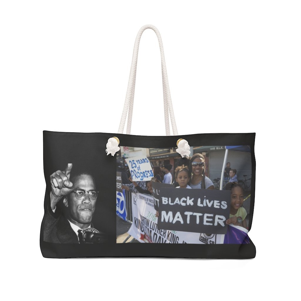 Weekender Bag - Dr. Martin Luther King Jr. - 'I have a Dream' speech in 1963 in WA DC and Black Lives Matter protest and Malcom X - both victims of murder - Yunque Store
