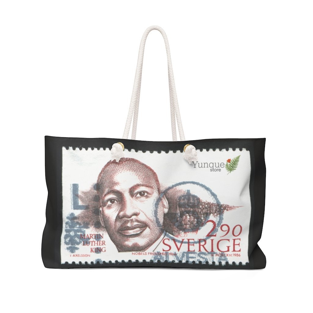 Weekender Bag - Dr. Martin Luther King Jr. - 'I have a Dream' speech in 1963 in WA DC and Nobel Peace Prize and Sweden stamp - Yunque Store