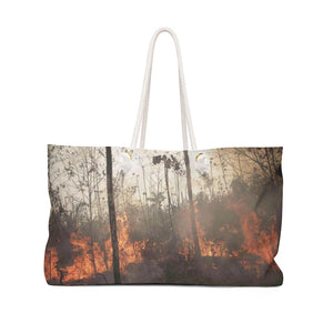 Weekender Bag - Keeling curve proof of Global Warming due to unprecedented CO2 growth in atmosphere, and Amazon forest burning. - Yunque Store