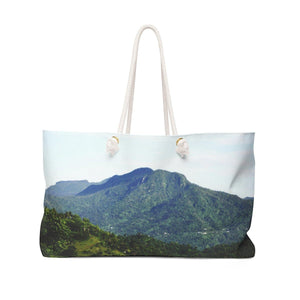 Weekender Bag - Rio Sabana river and trail exploration - El Yunque peaks from the road Bags Printify