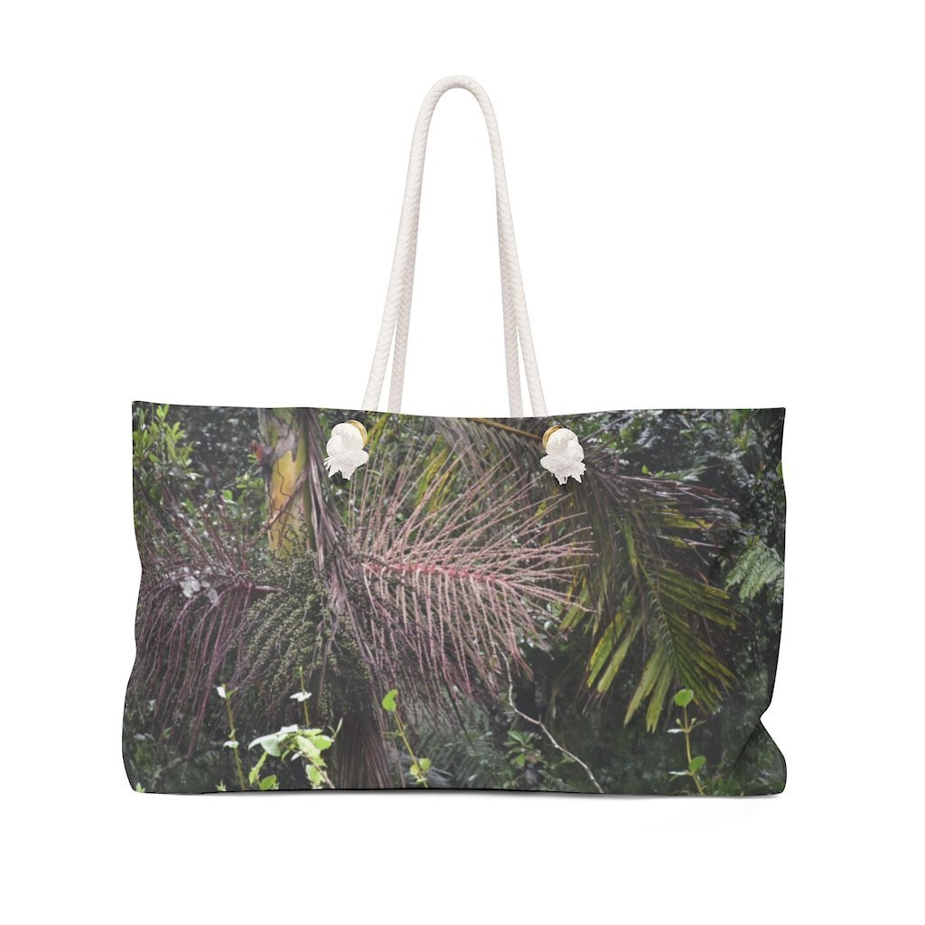 Weekender Bag - US Made - Sierra Palm & seeds - the cloud forest - PR 143 the top road in PR - Near Toro Negro rainforest at 4,000 feet altitude - Puerto Rico - Yunque Store