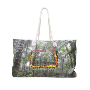 Weekender Bag - Yunque Store 'if they go we go' Logo with Cloud Forest in El Yunque rain forest PR - Yunque Store