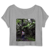 WOMEN ORGANIC CROP TOP - MANTIS - Jose on El Yunque trail - the cloud forest at 3K feet - El Yunque rainforest PR - Yunque Store