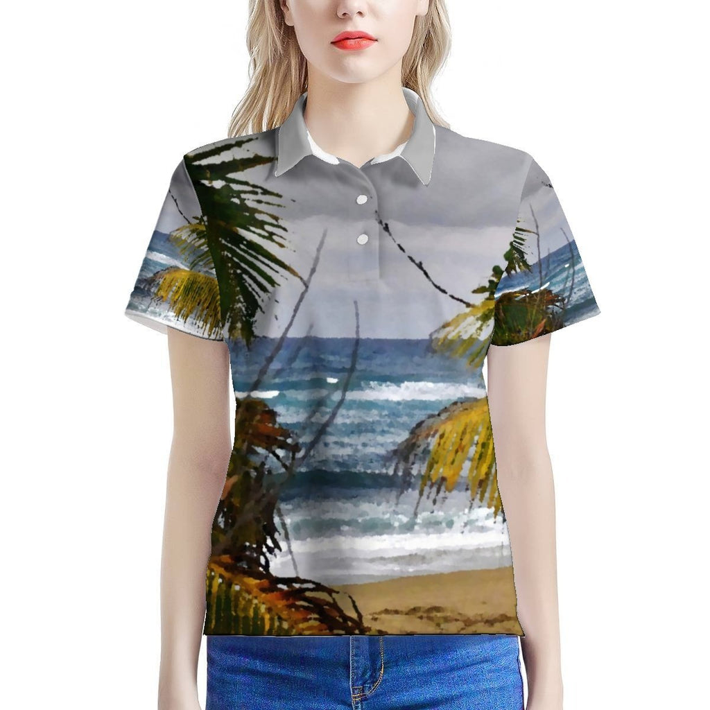 Women's All Over Print Polo Shirt (AOP) - AWESOME World Class Beaches 🌊 of Puerto Rico - Isabela beach HAU Boardwalk - image converted to painting - Yunque Store