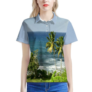 Women's All Over Print Polo Shirt - Awesome Guajataca Beach and Hotel - Isabela PR - Yunque Store