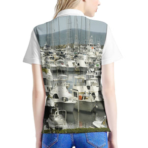Women's All Over Print Polo Shirt - Boats near Fajardo Puerto Rico 👍 - Yunque Store