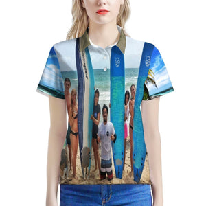 Women's All Over Print Polo Shirt - Happy Surfers and Mona Island on Puerto Rico 🌊🌞🌊 - Yunque Store