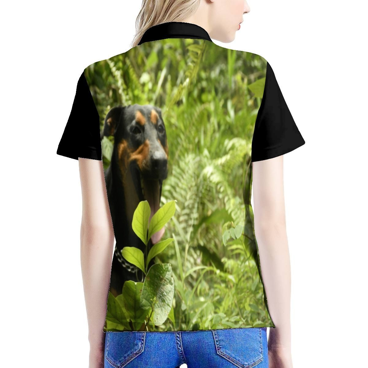 Women's All Over Print Polo Shirt - The explorer dog FIRO on the Rio Sabana Park - El Yunque rainforest PR 🌴🐱‍🐉🌴 - Yunque Store