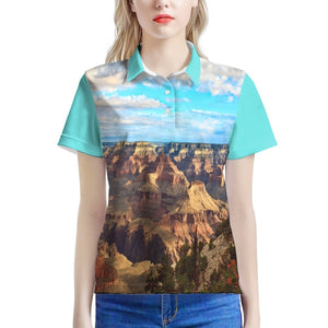 Women's All Over Print Polo Shirt - The Huge US Grand Canyon 😎 that covers 3 states and has the geologic history of the Earth on it 🌞 - Yunque Store