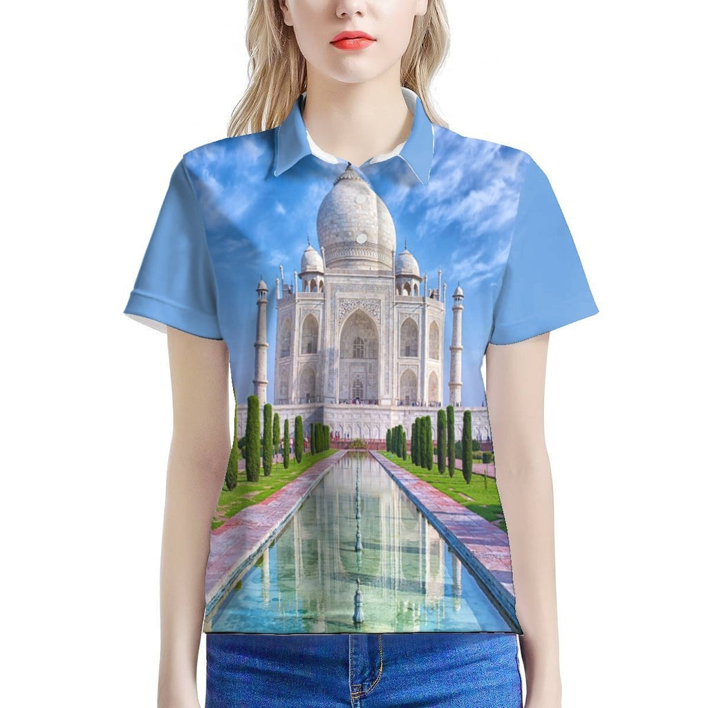 Women's All Over Print Polo Shirt - The INDIA Majestic Taj Mahal - world heritage - monument of 💘LOVE from the King to the Queen - show it Off! 🎆🎈🎁 - Yunque Store
