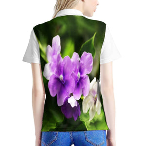 Women's All Over Print Polo Shirt - Tropical flowers 🌷 in Puerto Rico - Yunque Store