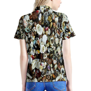 Women's All Over Print Polo Shirt - You will look PRETTY! Nice seashells in the ocean 🌊 front - Isabela Puerto Rico - Yunque Store
