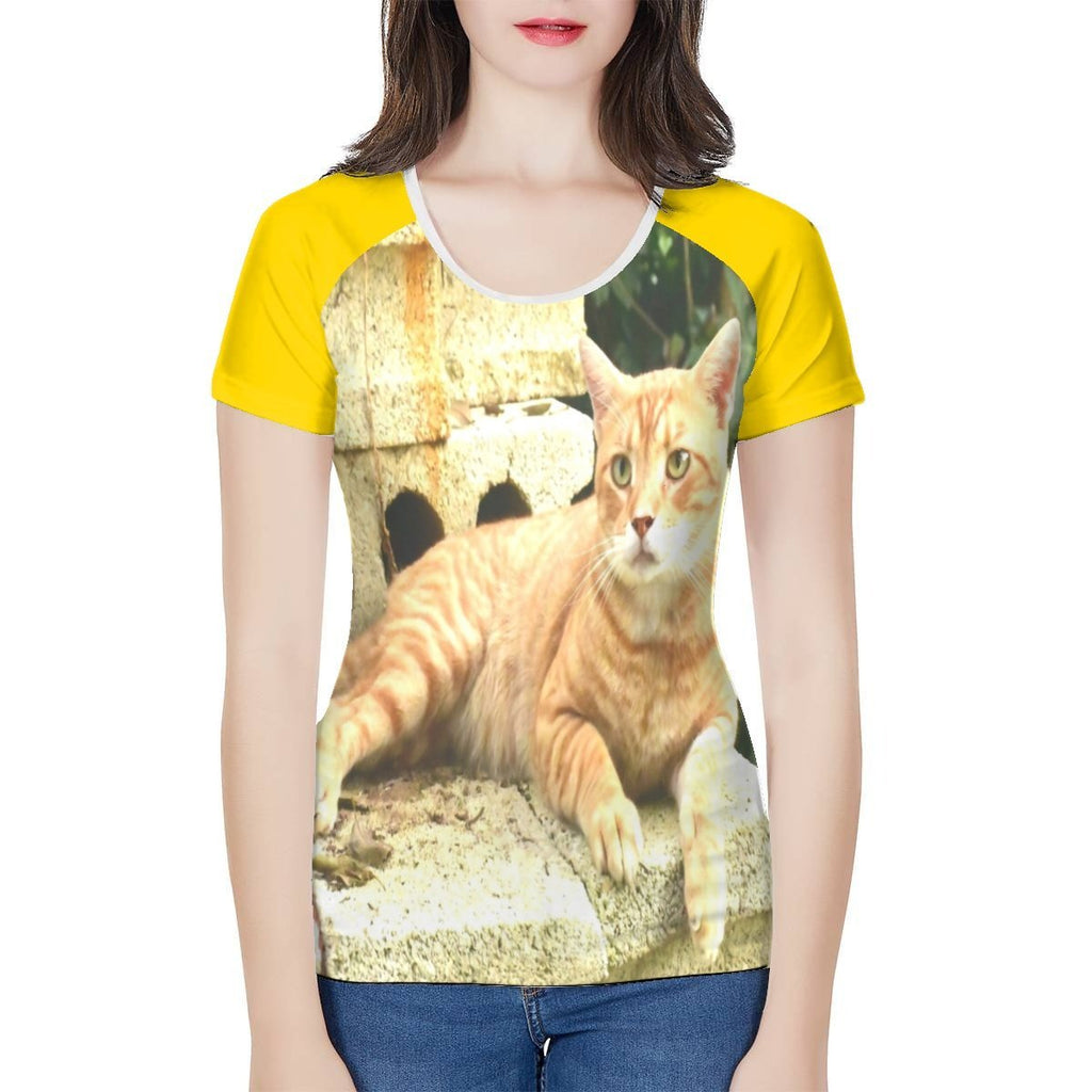 Women's All-Over Print T shirt - The home cat Orange 🐱 relaxing in the backyard...Puerto Rico - Yunque Store