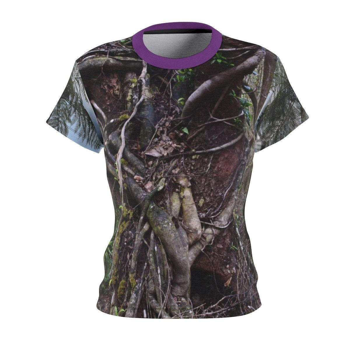Women's AOP Cut & Sew Tee - Ancient Colorado Tree and view of Rio Sabana park - El Yunque All Over Prints Printify