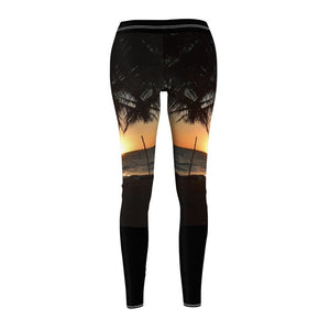 Women's Cut & Sew Casual Leggings - Awesome beach sunset - REMOTE Mona Island - Galapagos of the Caribbean - Puerto Rico - Yunque Store