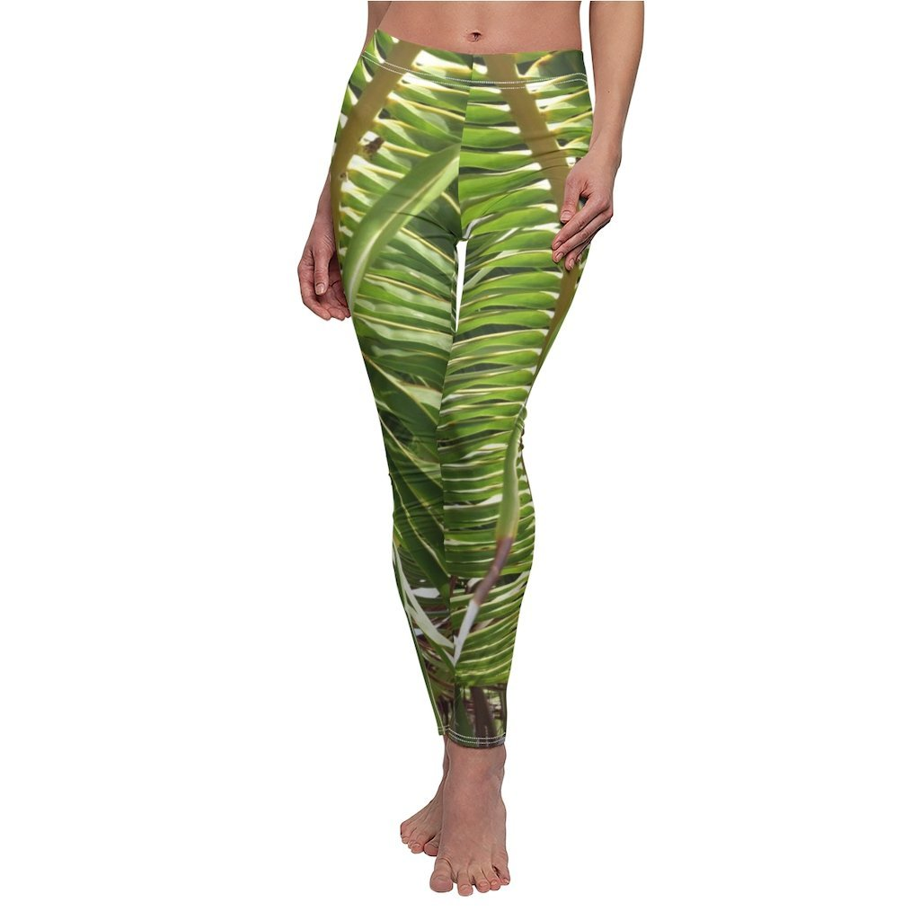 Women's Cut & Sew Casual Leggings - Awesome palm-leaf pattern from REMOTE Mona Island - Galapagos of the Caribbean - Puerto Rico - Yunque Store