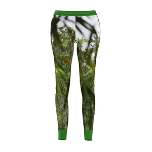 Women's Cut & Sew Casual Leggings - Bambo leaves and rain forest in back - Sabana Park El Yunque PR All Over Prints Printify