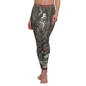 Women's Cut & Sew Casual Leggings - Beach tree roots - from REMOTE Mona Island - Galapagos of the Caribbean - Puerto Rico All Over Prints Printify
