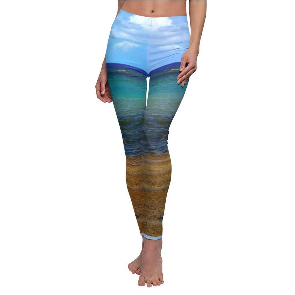 Women's Cut & Sew Casual Leggings - Beach with algae and ocean depths blue shades - REMOTE Mona Island - Galapagos of the Caribbean - Puerto Rico - Yunque Store