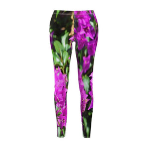Women's Cut & Sew Casual Leggings - Beautiful tropical flowers - Puerto Rico - Yunque Store