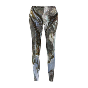 Women's Cut & Sew Casual Leggings - Boulder erosion patterns next to river - El Yunque rain forest PR - Yunque Store