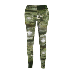 Women's Cut & Sew Casual Leggings - Cave with green moss pattern - REMOTE Mona Island - Galapagos of the Caribbean - Puerto Rico All Over Prints Printify