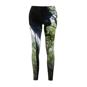 Women's Cut & Sew Casual Leggings - Caves view in REMOTE Mona Island - Galapagos of the Caribbean - Puerto Rico All Over Prints Printify