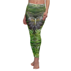 Women's Cut & Sew Casual Leggings - Coconuts sprouts in the beach - REMOTE Mona Island - Galapagos of the Caribbean - Puerto Rico - Yunque Store