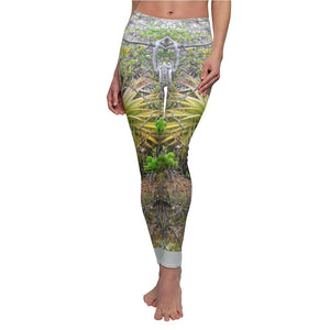 Women's Cut & Sew Casual Leggings - Desert Bromeliads on boulders - REMOTE Mona Island - Galapagos of the Caribbean - Puerto Rico - Yunque Store
