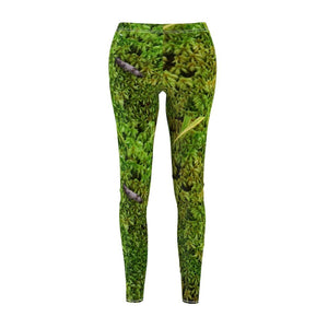 Women's Cut & Sew Casual Leggings - Ground moss from Cloud forest - El Yunque rain forest PR - Yunque Store