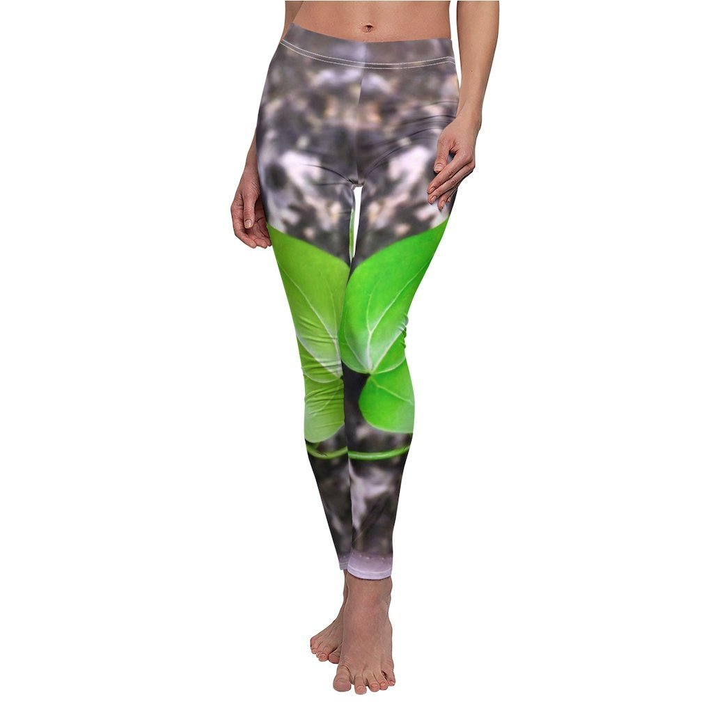 Women's Cut & Sew Casual Leggings - Heart-shaped beach plant leaf - REMOTE Mona Island - Galapagos of the Caribbean - Puerto Rico - Yunque Store