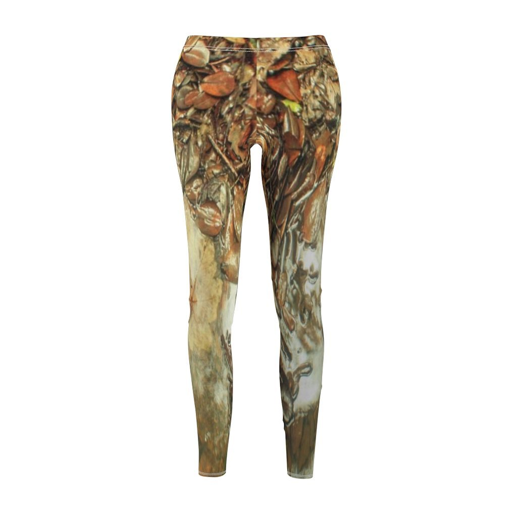 Women's Cut & Sew Casual Leggings - Leaves and Yagrumo leave in 14km Tardewinds trail after rain - El Yunque rain forest PR - Yunque Store