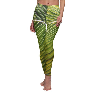 Women's Cut & Sew Casual Leggings - Palm leaf in sunlight - REMOTE Mona Island - Galapagos of the Caribbean - Puerto Rico - Yunque Store