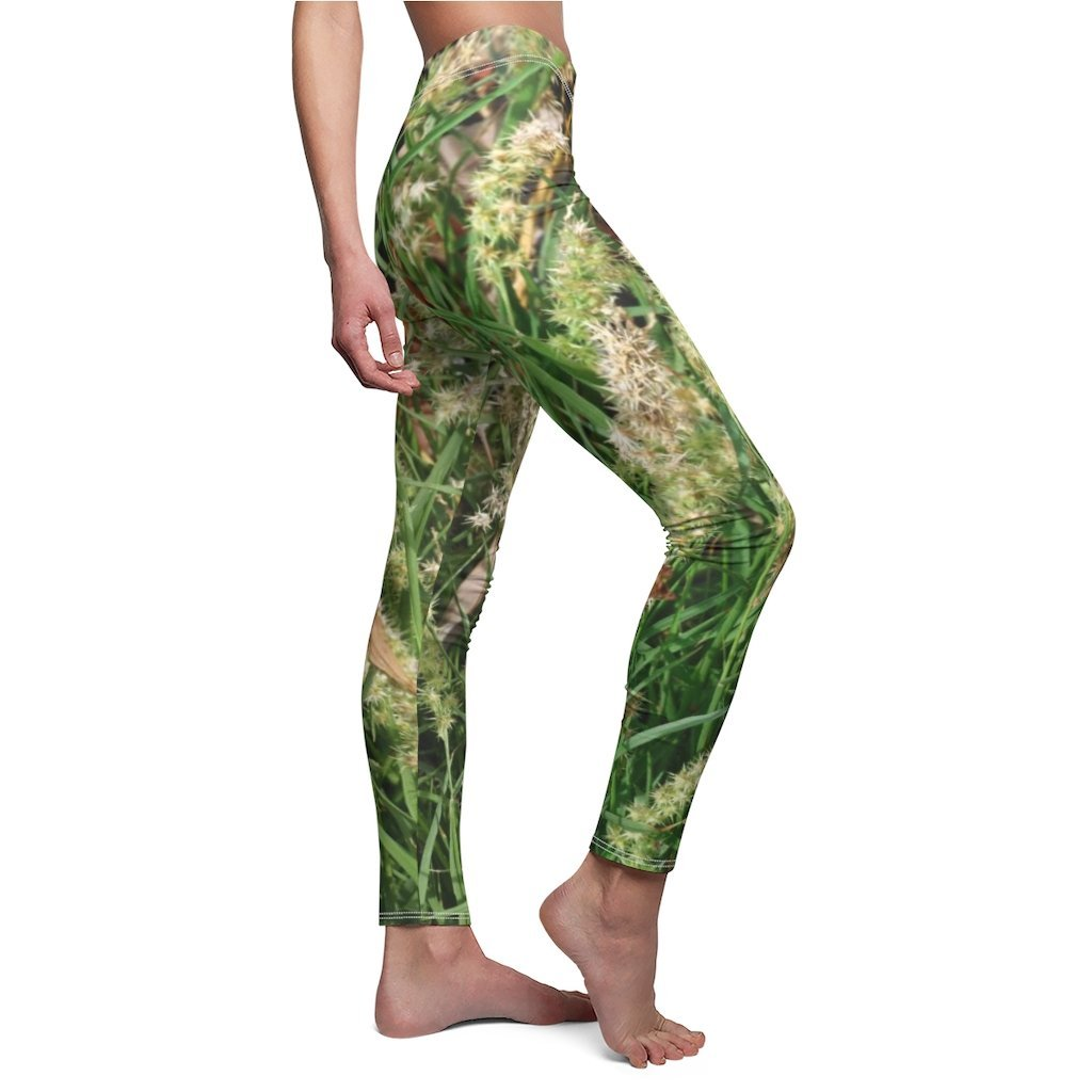 Women's Cut & Sew Casual Leggings - Sticky thorns grass-plant (cadillos) - REMOTE Mona Island - Galapagos of the Caribbean - Puerto Rico - Yunque Store