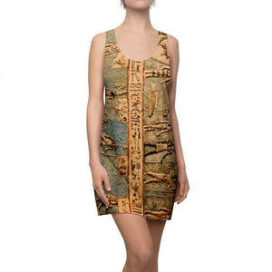 Women's Cut & Sew Racerback Dress - Dress with an ancient EGYPTIAN wall design - Yunque Store