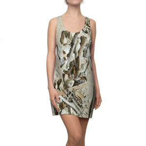 Women's Cut & Sew Racerback Dress - Isabela beach waves edge - sand, shells, sticks etc. for the Beach fan - Puerto Rico - Yunque Store