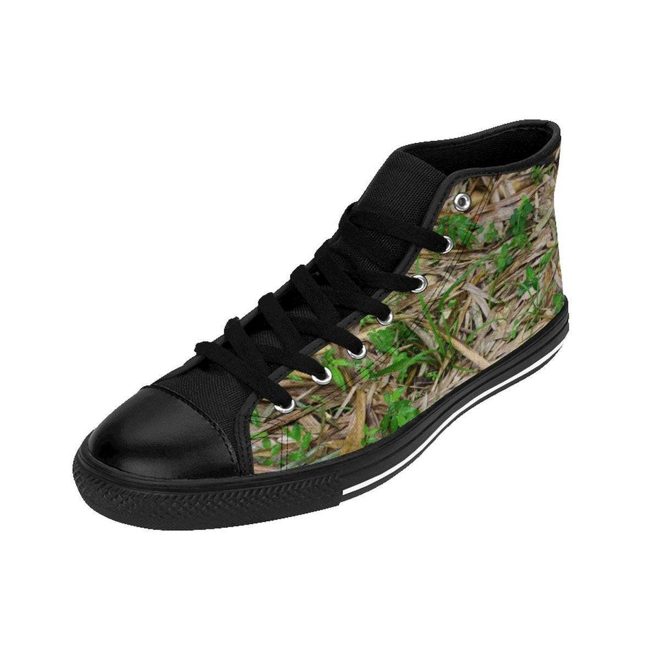 Women's High-top Sneakers - Bamboo leaves and plants on the ground - El Yunque rain forest PR Shoes Printify