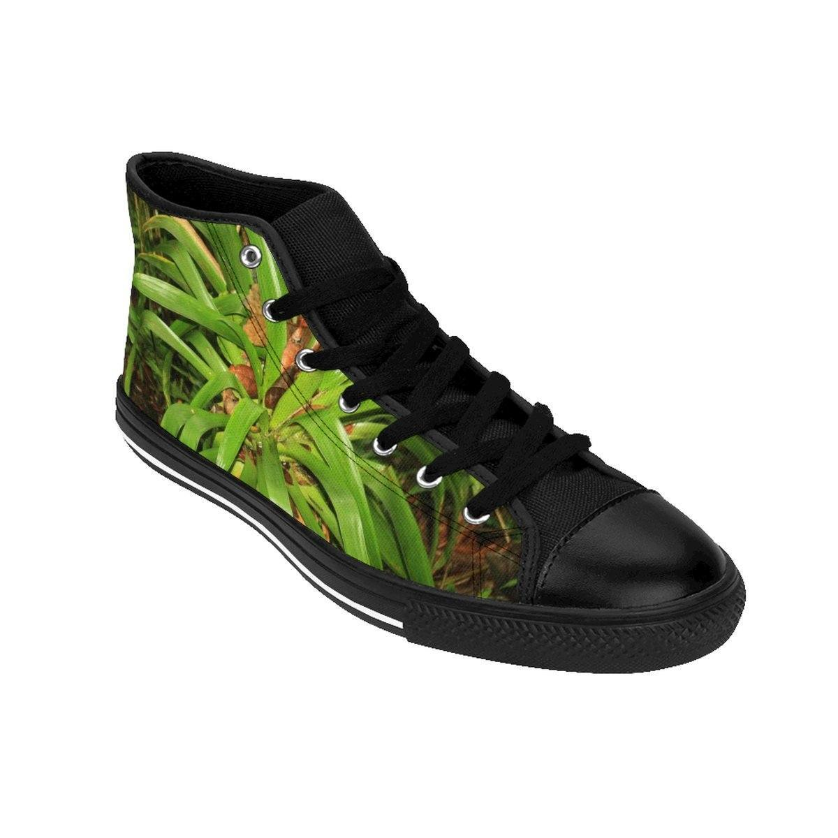 Women's High-top Sneakers - The Bromeliad - an air plant and house of frogs and coquis - El Yunque rain forest PR Shoes Printify