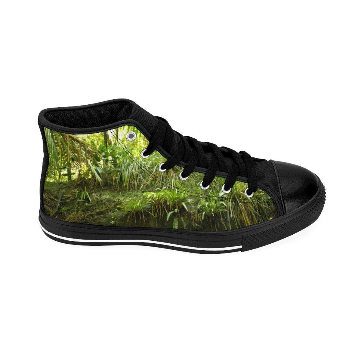 Women's High-top Sneakers- The Bromeliads - an air plant and house of frogs and coquis - El Yunque rain forest PR Shoes Printify