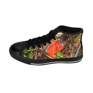 Women's High-top Sneakers - Trail floor leaves in Tradewinds and view of - El Yunque rain forest PR Shoes Printify