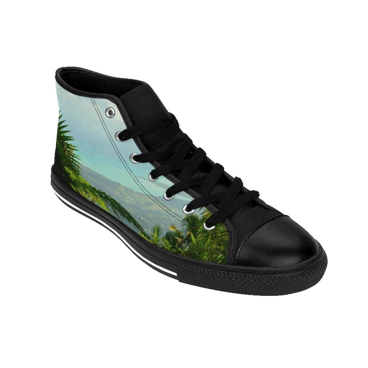 Women's High-top Sneakers - Views of the forest and coast - El Yunque rain forest PR Shoes Printify