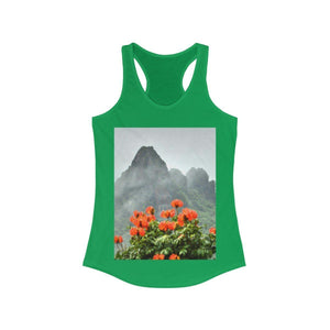 Women's Ideal Racerback Tank - View at 1,000 feet alt. from Yokahu tower after storm - El Yunque rainforest PR Tank Top Printify