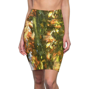 Women's Pencil Skirt - AOP T-shirt Dress - Awesome rare magical image - sunset and shades in forest swamp leaves - Pterocarpus in Palmas del Mar - PR All Over Prints Printify