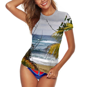 Women's Short Sleeve Rashguard Swimming Shirt Surf Top Swimwear - Isabela beach Puerto Rico and San Francisco Summer of Love in CA USA - Yunque Store