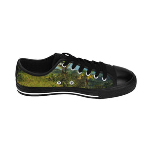 Women's Sneakers - Plants and moss covered boulder and view from East Peak road - El Yunque rain forest PR Shoes Printify