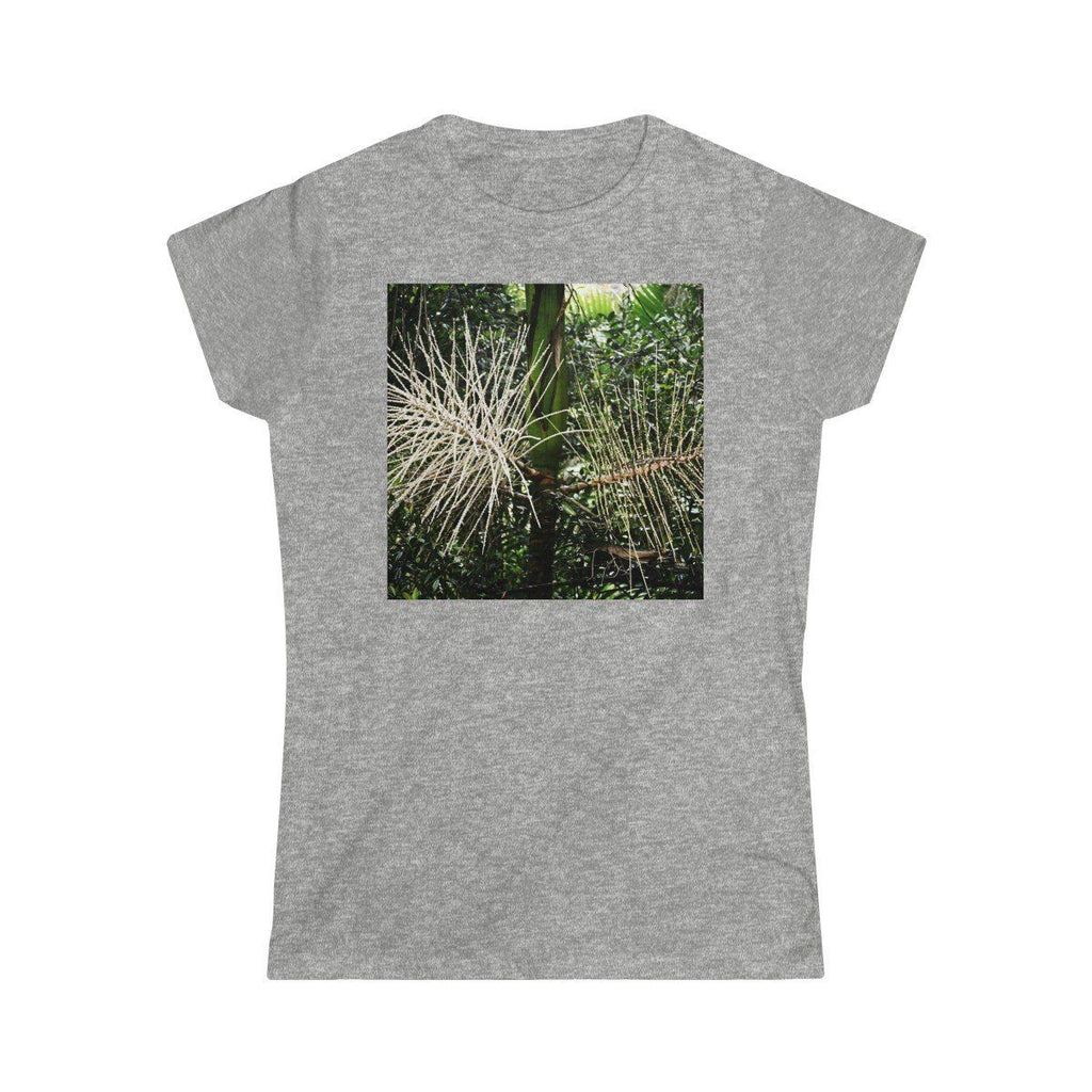 Women's Softstyle Tee - Gildan 64000L - Sierra Palm seeds and Mountain view in El Yunque rainforest - PR - Printed in the Czech Republic T-Shirt Printify